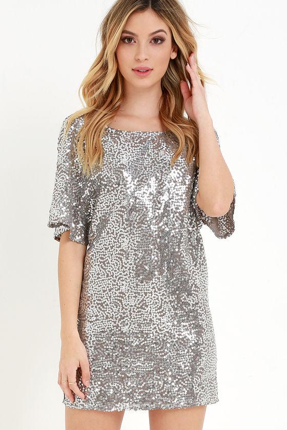 Pewter Dress - Sequin Dress - Short Sleeve Dress - Shift Dress ...