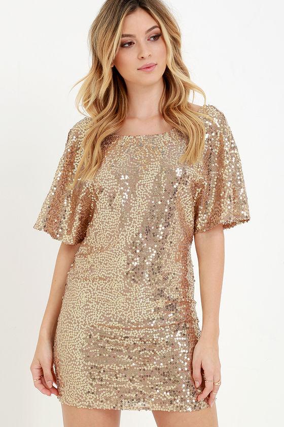 Bronze Dress - Sequin Dress - Short Sleeve Dress - Shift Dress ...