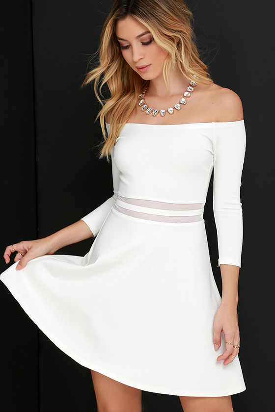 Cute Ivory Dress Skater Dress Mesh Dress Off The Shoulder