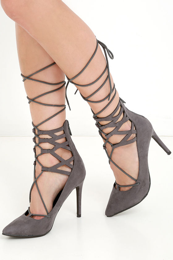 Cute Grey Heels - Lace-Up Heels - Lace-Up Pumps - $34.00