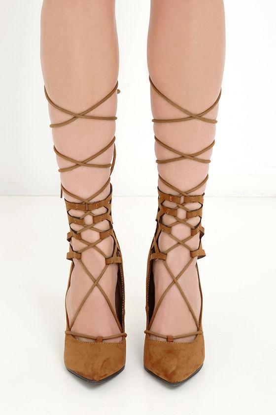 Cute Tan Heels - Lace-Up Heels - Lace-Up Pumps - $34.00