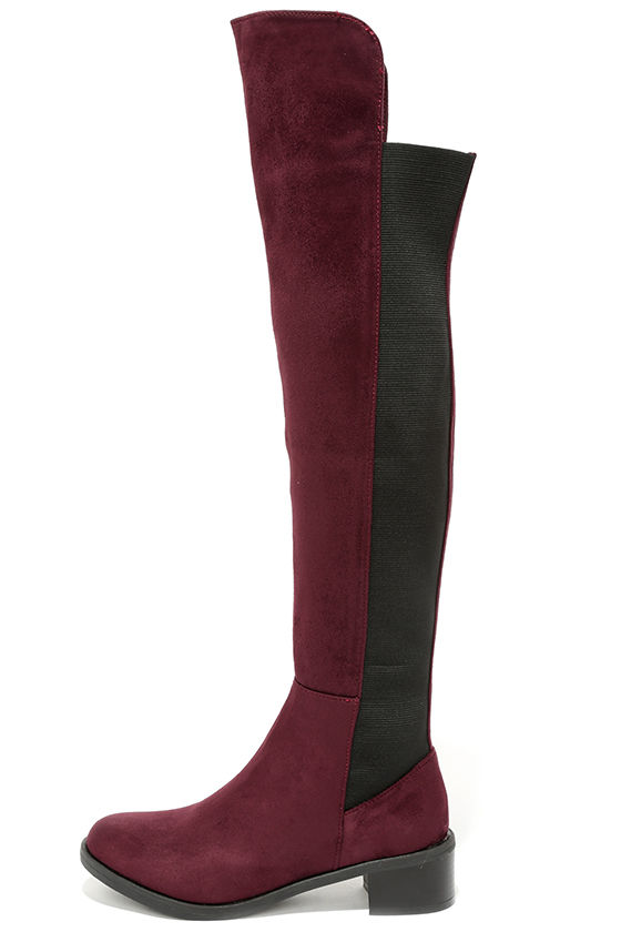 Cute Wine Red Boots - Over the Knee Boots - Vegan Leather Boots ...