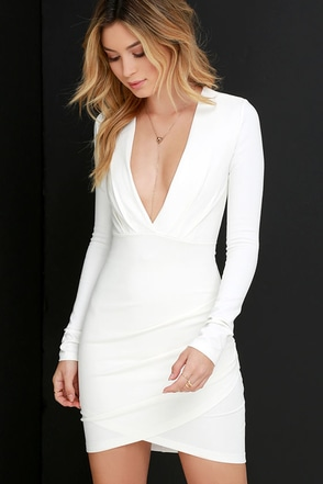 6c8038560b1f2 Sexy Ivory Dress - Bodycon Dress - Long Sleeve Dress - $49.00