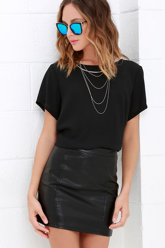 656f5cd84082 Vegan Leather Skirt - Black Skirt - Mini Skirt - $49.00