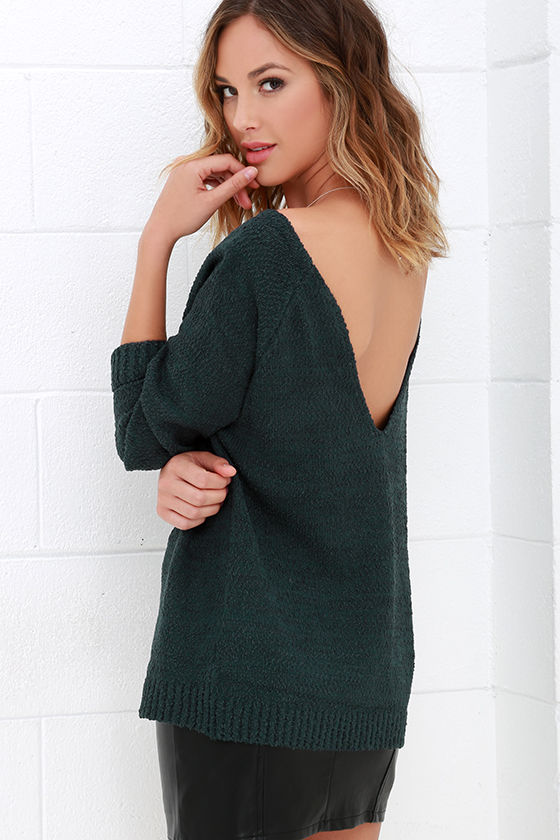 Dark Teal Sweater - Oversized Sweater - Thick-and-Thin Knit - $52.00