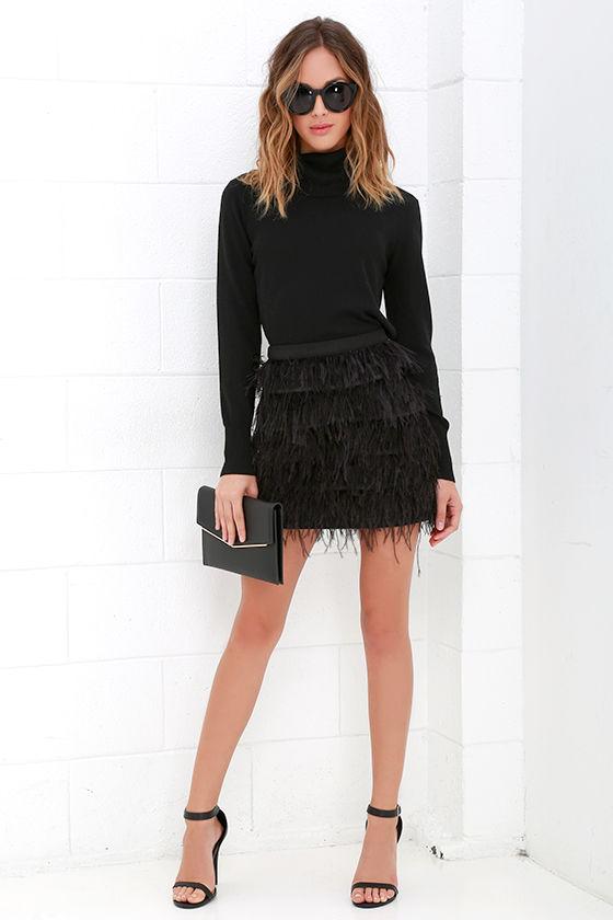 2fd7f6eca Feather Skirt - Mini Skirt - High-Waisted Skirt - $95.00