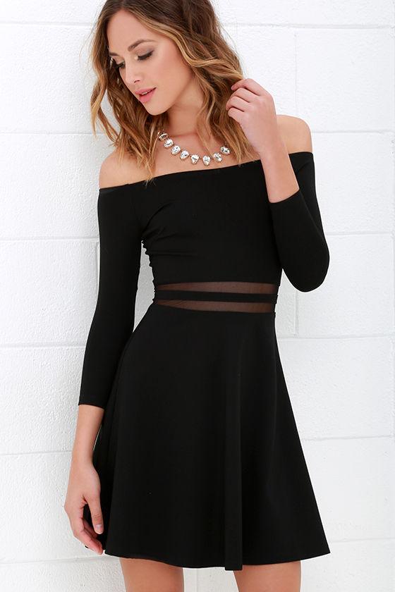 Cute Black Dress - Skater Dress - Mesh Dress - Off-the-Shoulder ...