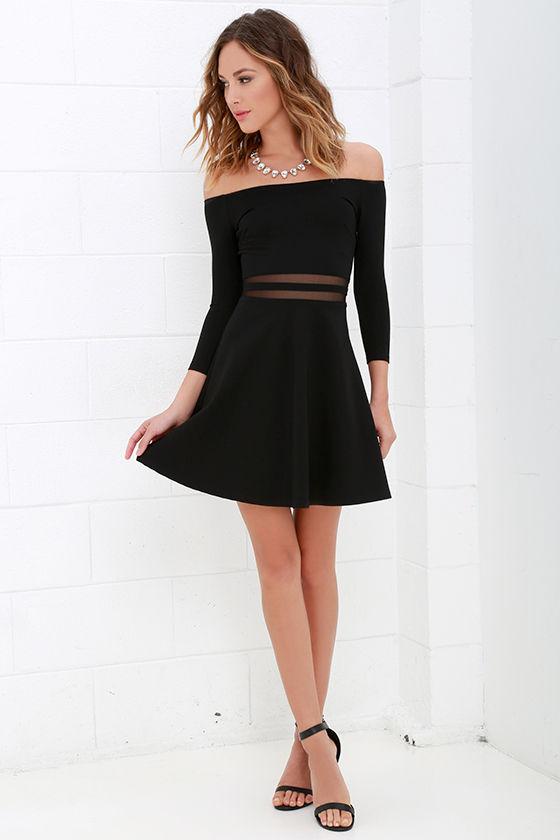 Yes to the Mesh Black Skater Dress 2