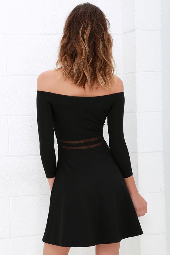 Yes to the Mesh Black Skater Dress 4