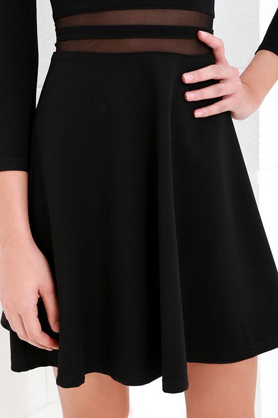 Yes to the Mesh Black Skater Dress 5