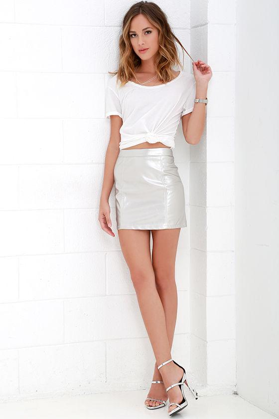 Vegan Leather Skirt - Silver Skirt - Mini Skirt - $49.00