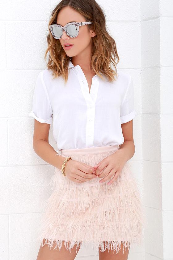 f8f40c74a Blush Pink Skirt - Feather Skirt - Mini Skirt - $95.00