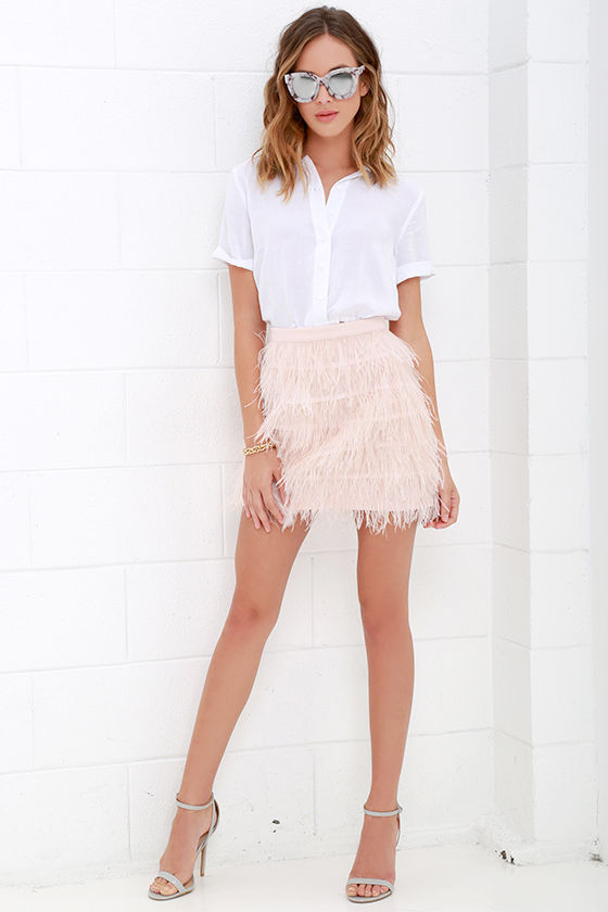 Blush Pink Skirt - Feather Skirt - Mini Skirt - $95.00