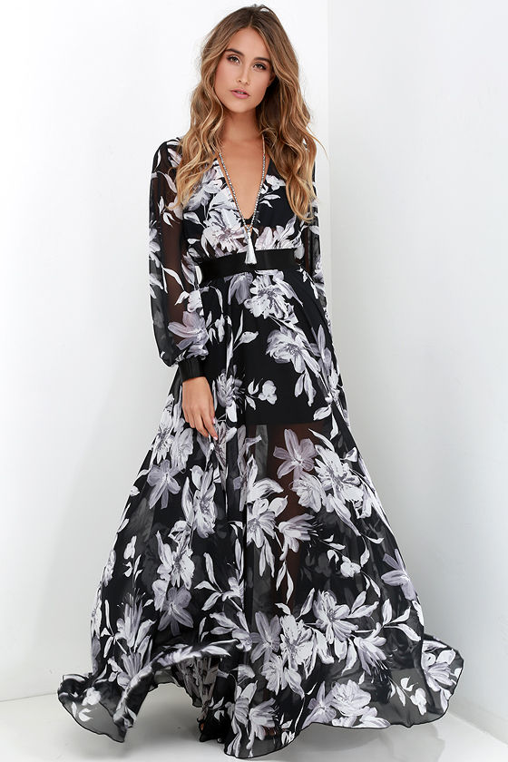45c4cd45dc Floral Print Dress - Maxi Dress - Long Sleeve Dress - Black and Ivory Dress  -  129.00