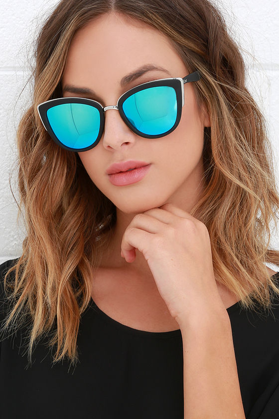 47b0d99e3b Quay My Girl - Blue and Black Sunglasses - Cat-Eye Sunglasses -  50.00