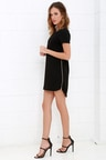 Black Dress - Shift Dress - Short Sleeve Dress -  48.00 1a81b92d8