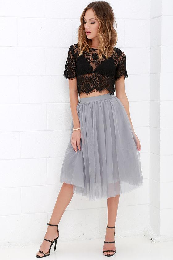 Grey Skirt Tulle Skirt Midi Skirt 49 00