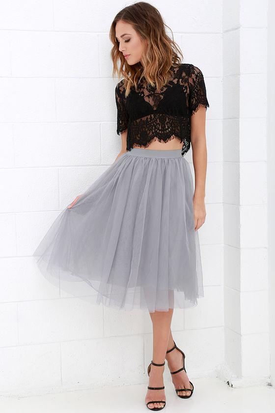 c4c947fd0 Grey Skirt - Tulle Skirt - Midi Skirt - $49.00