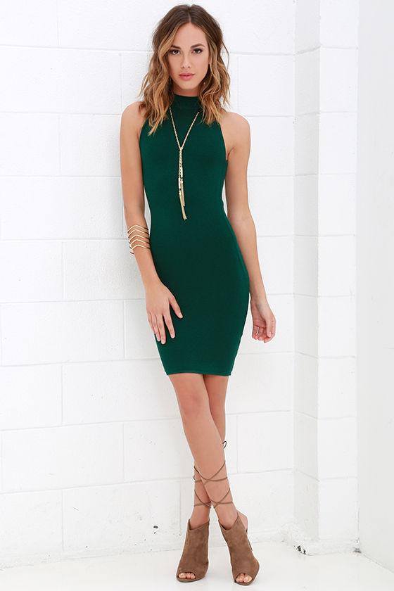 b2fa8c2bb0a7 Sexy Dark Green Dress - Bodycon Dress - Mock Neck Dress -  56.00