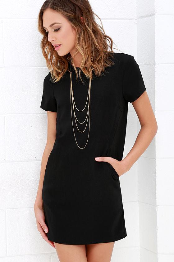 Black Dress - Shift Dress - Short Sleeve Dress - $59.00