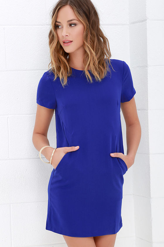 Royal Blue Dress Shift Dress Short Sleeve Dress 59 00