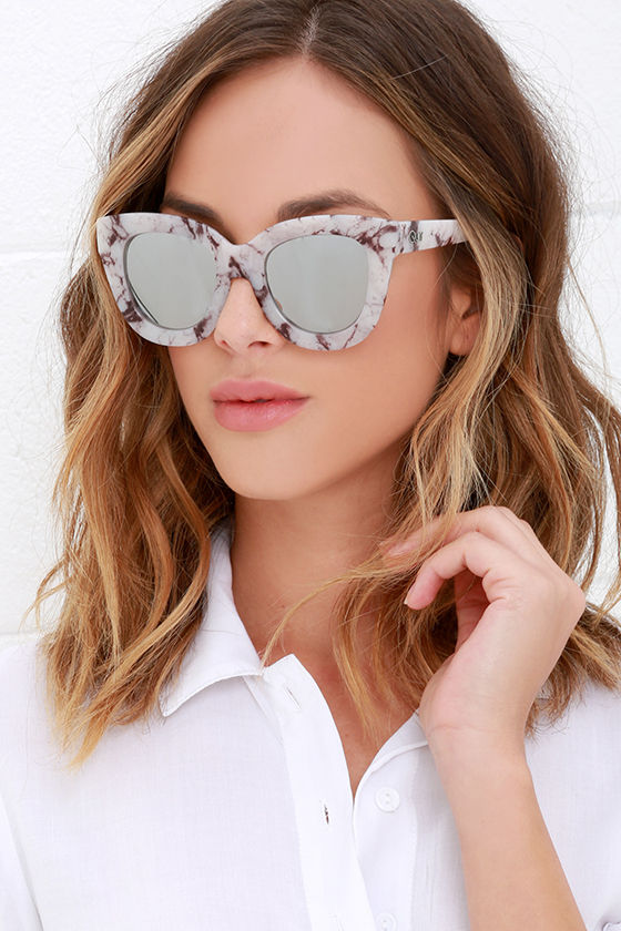 Quay Sugar And Spice Marble Sunglasses Mirrored