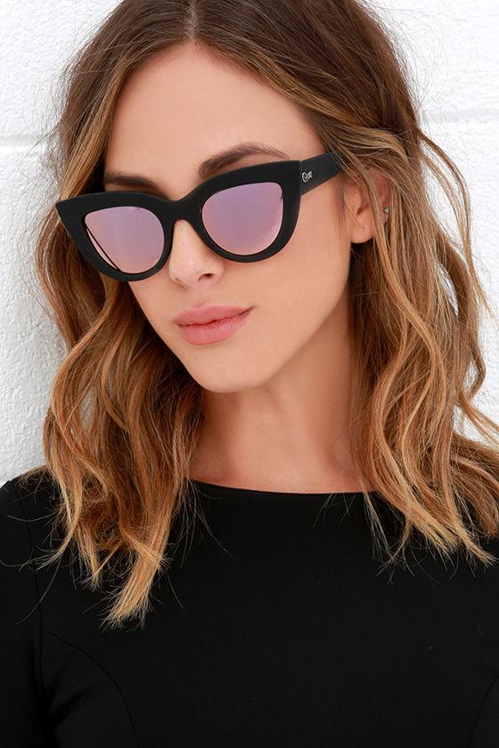 e05a89845e4a7 Quay Kitti Black -Black and Pink Mirrored Cat Eye Sunglasses