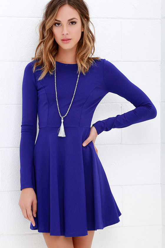 Cute Royal Blue Dress - Long Sleeve Dress - Skater Dress - $57.00