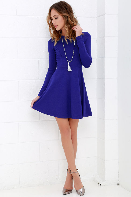 Forever Chic Royal Blue Long Sleeve Dress 2