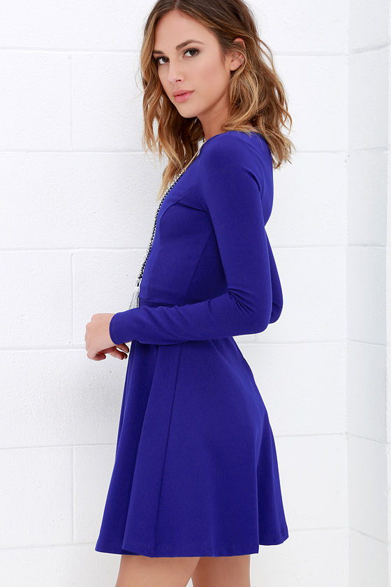 Forever Chic Royal Blue Long Sleeve Dress 3