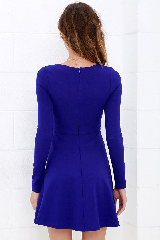 Forever Chic Royal Blue Long Sleeve Dress 4