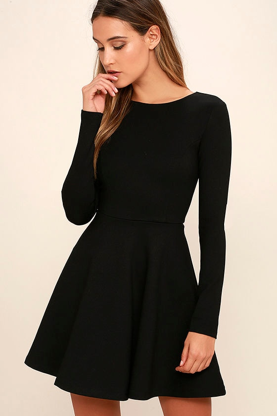 cute black dress long sleeve dress skater dress 5700