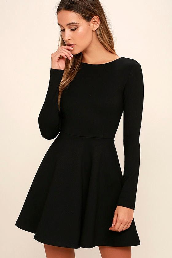 b0998a781e Forever Chic Black Long Sleeve Dress