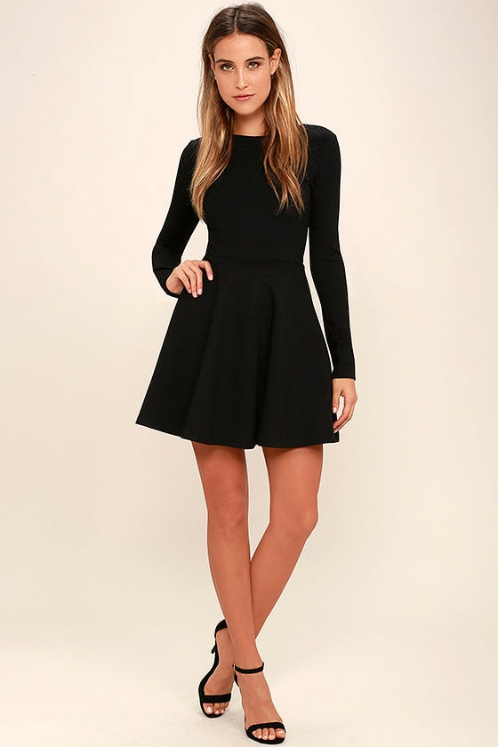 Cute Black Dress - Long Sleeve Dress - Skater Dress - $57.00