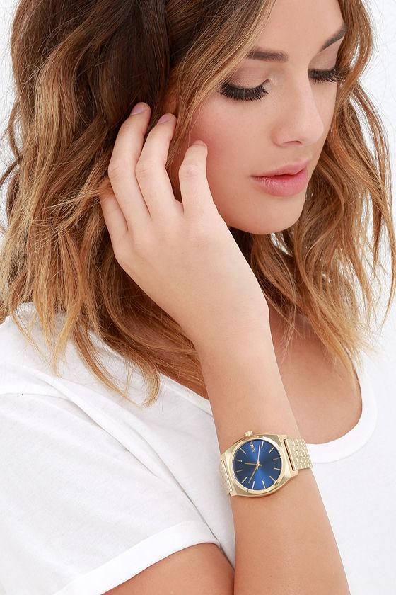 Nixon Time Teller Light Gold and Cobalt Watch 2