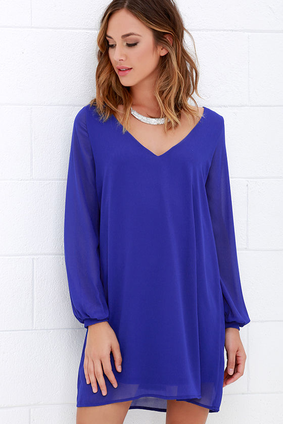 Cute Royal Blue Dress - Long Sleeve Dress - Shift Dress - $47.00