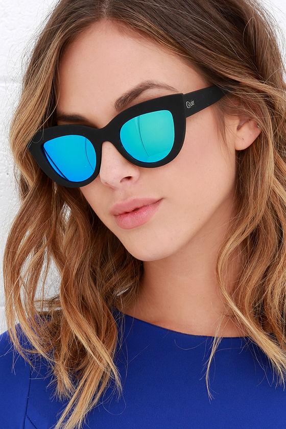 f481aca043c86 Quay Kitti Black - Black and Blue Mirrored Cat Eye Glasses