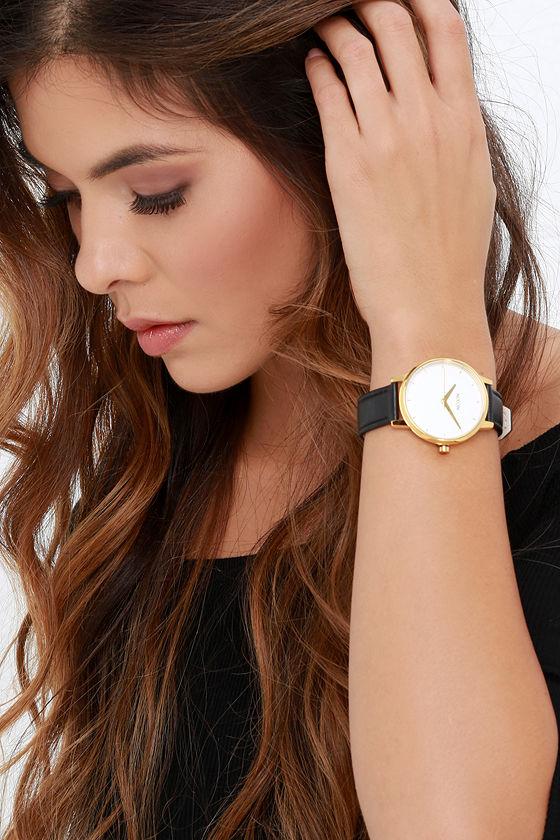 Nixon Kensington Leather Gold, White and Black Watch 2