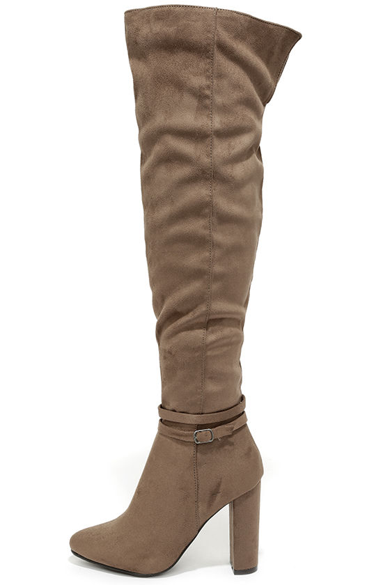 cefcbbe1dcf Cute Taupe Boots - Over the Knee Boots - OTK -  47.00