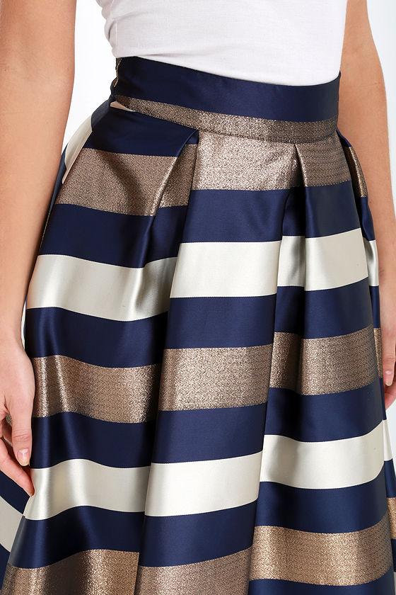 Striped Skirt - Midi Skirt - Navy Blue and Bronze Skirt - $42.00