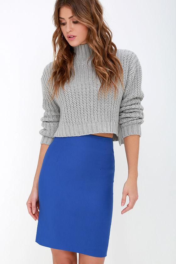Chic Royal Blue Skirt - High-Waisted Skirt - Midi Skirt - Pencil ...