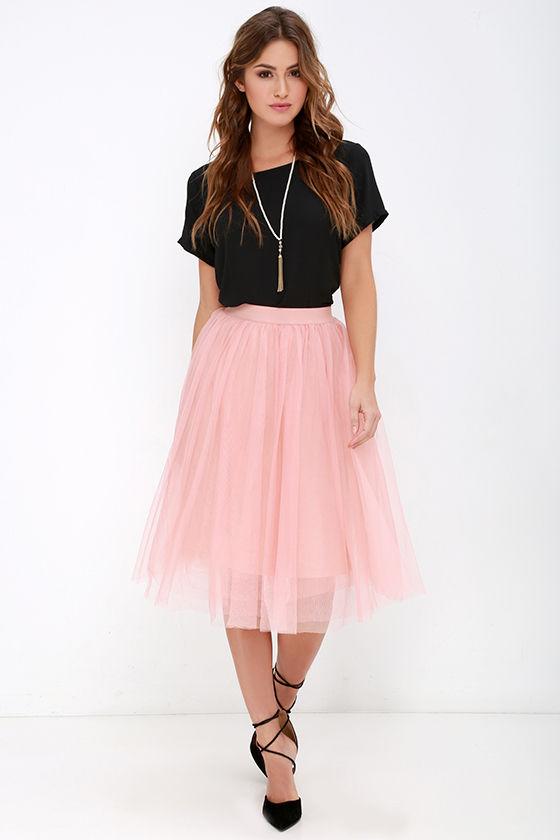Blush Skirt - Tulle Skirt - Midi Skirt - $49.00