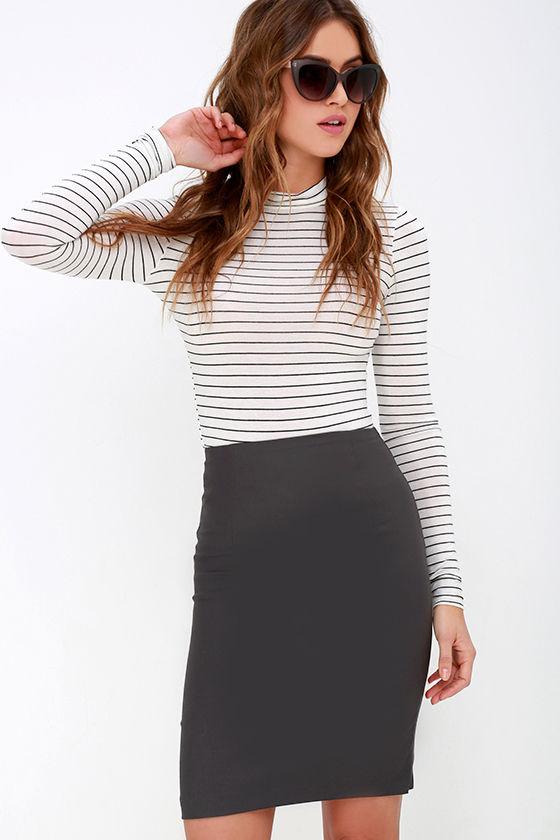 Chic Charcoal Grey Skirt - High-Waisted Skirt - Midi Skirt ...