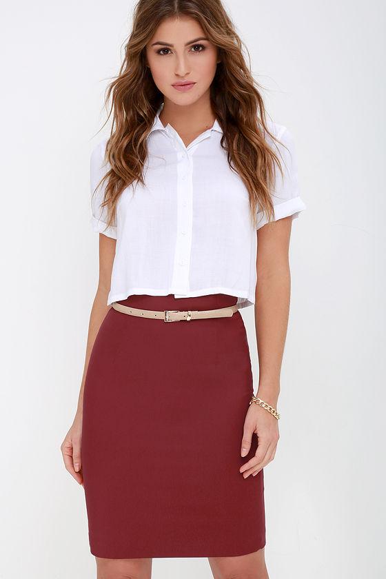 6b5dc9da10 Chic Wine Red Skirt - High-Waisted Skirt - Midi Skirt - Pencil Skirt -  $38.00
