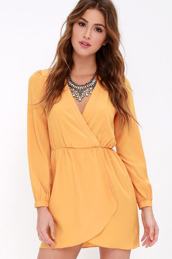 Cute Mustard Yellow Dress - Wrap Dress - Long Sleeve Dress -  49.00 9b9668d83