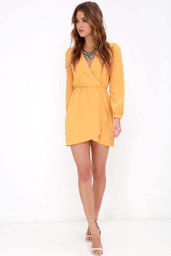 Cute Mustard Yellow Dress - Wrap Dress - Long Sleeve Dress - $49.00