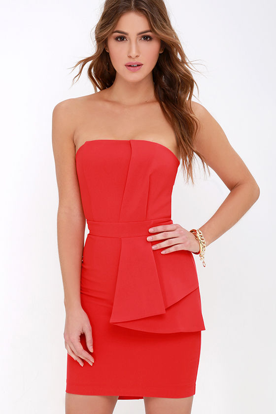 Rest is History Coral Red Strapless Dress at Lulus.com!