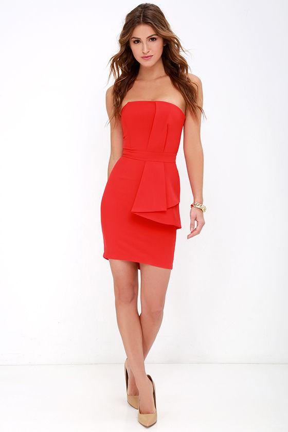 Coral Red Dress - Strapless Dress - Peplum Dress - $84.00