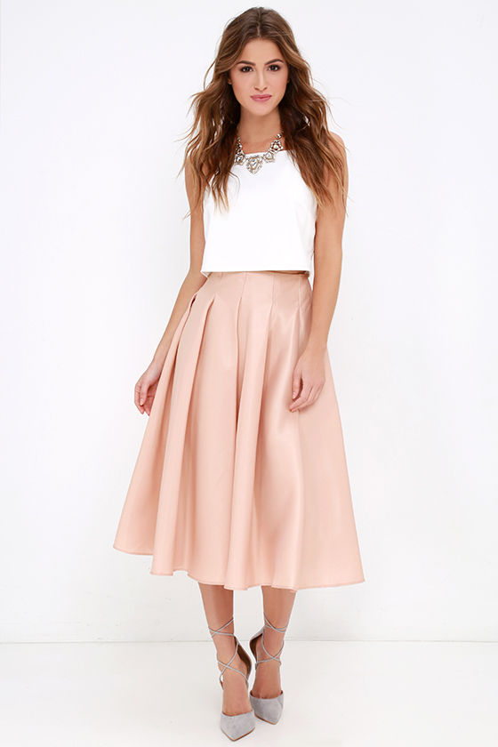 14c4cb8ed996 Blush Skirt - Midi Skirt - High-Waisted Skirt - $62.00