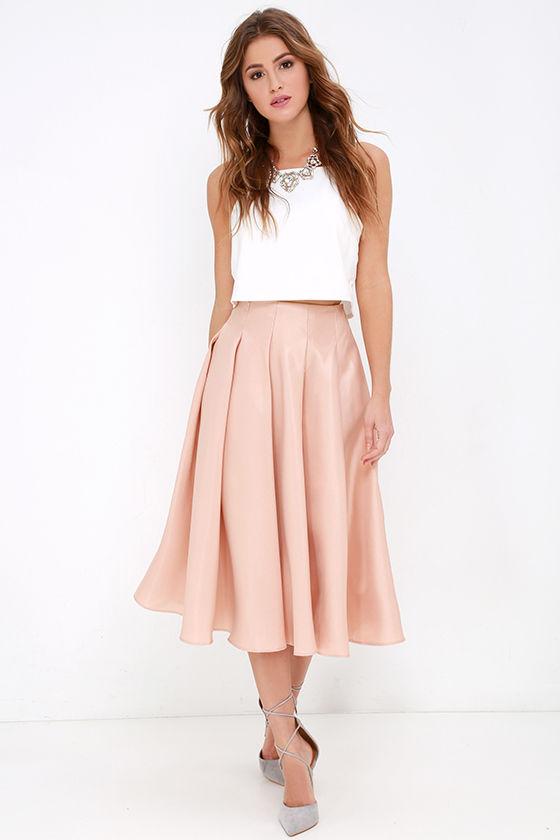 blush skirt midi skirt high waisted skirt 62 00